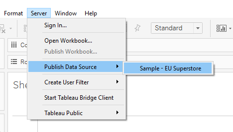 Pubblicare il Data Source per creaer un Tableau Bridge