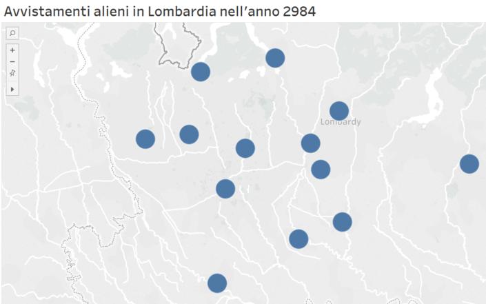 Gli indicatori che compaiono sulla mappa identificano semplicemente la presenza della città nel database e non il valore ad essa associato.