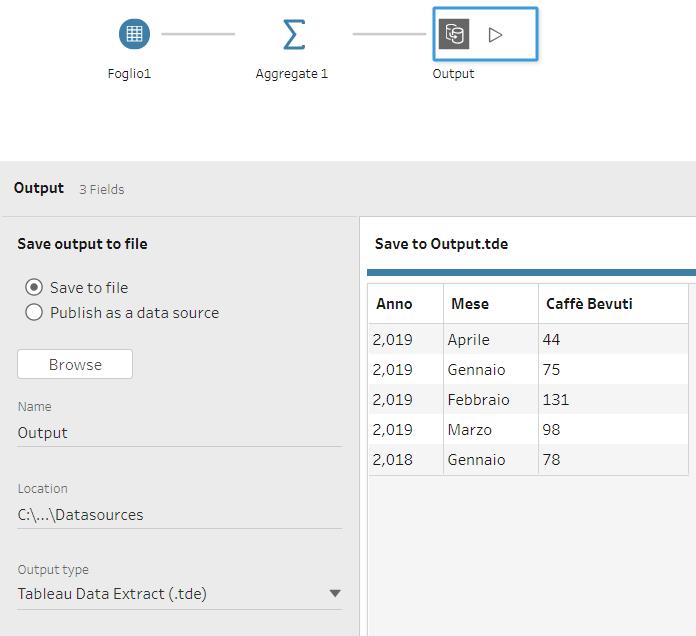 Aggiungi un Output Step per visualizzare la tua tabella semplificata