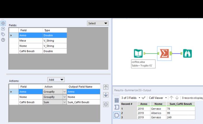 Il Summarize Tool di Alteryx permette di raggruppare anche più di una colonna alla volta