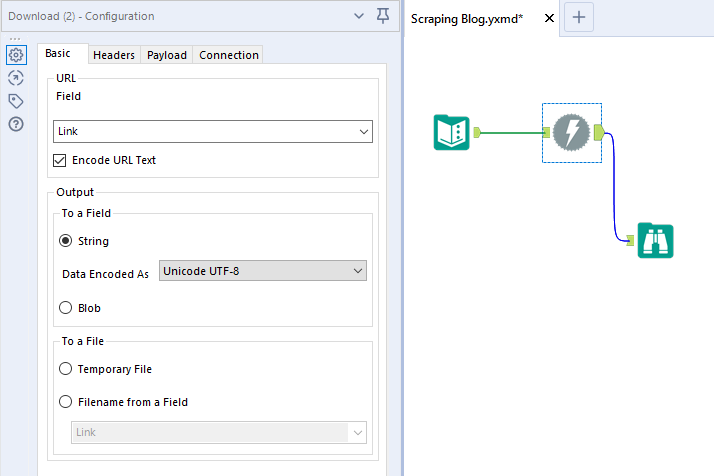 Prima fase del flusso di scraping con Alteryx: Download tool