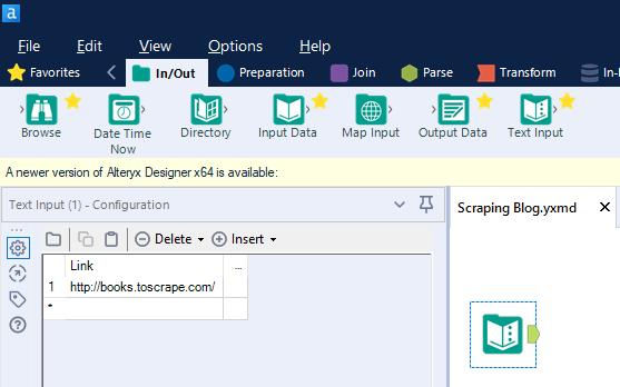 Prima fase del flusso di scraping con Alteryx: Text Input tool