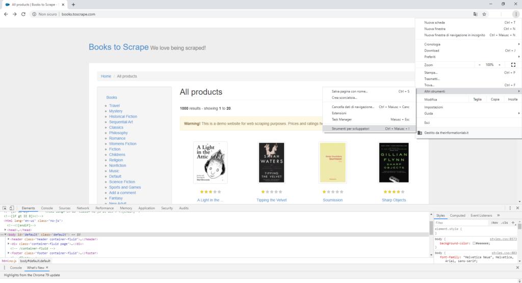 Analisi della pagina pre-scraping: apri gli strumenti per sviluppatori