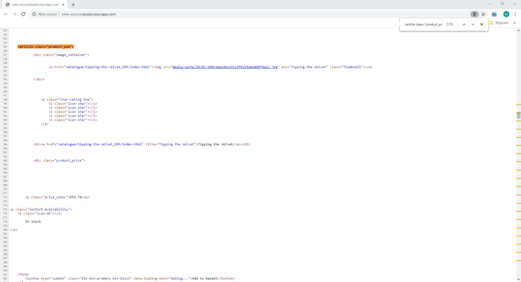 Seconda fase del flusso di scraping con Alteryx: il codice sorgente della pagina