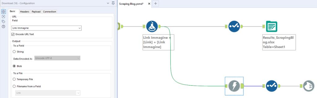Download tool: configurazione per le immagini