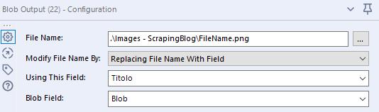 Blob Output tool: configurazione