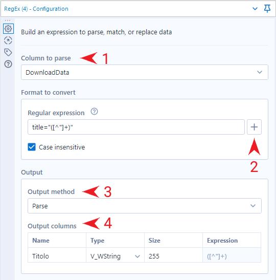 Seconda fase del flusso di scraping con Alteryx: configurazione del tool RegEx