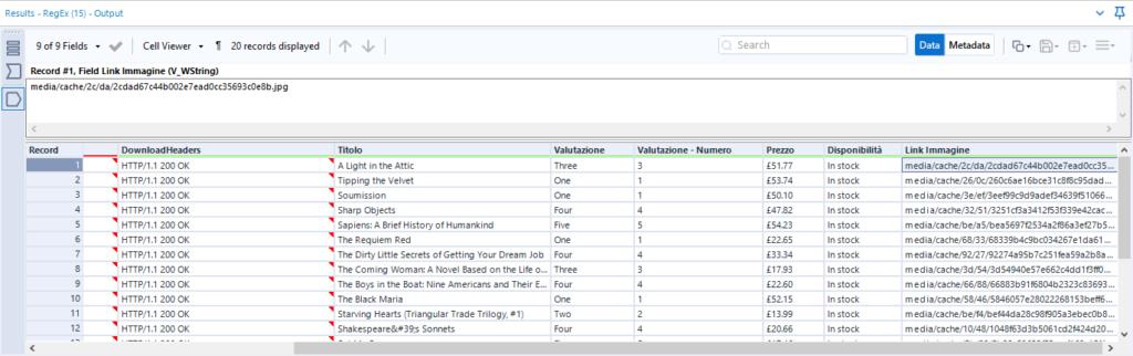 Terza fase del flusso di scraping con Alteryx: tabella di output dello scraping