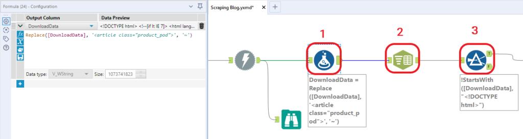 Seconda fase del flusso di scraping con Alteryx: processo di tokenizzazione