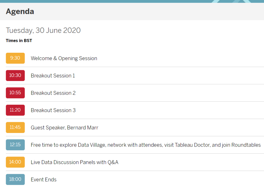 Agenda Evento: Tableau Live Europe